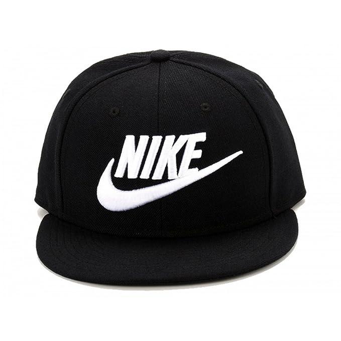 Nike - Gorra con visera plana modelo Futura (Talla Única/Blanco/Negro)