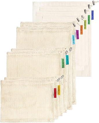 Colony Co. Paquete de 10 Bolsas Reutilizables de Algodón (6 Bolsas ...