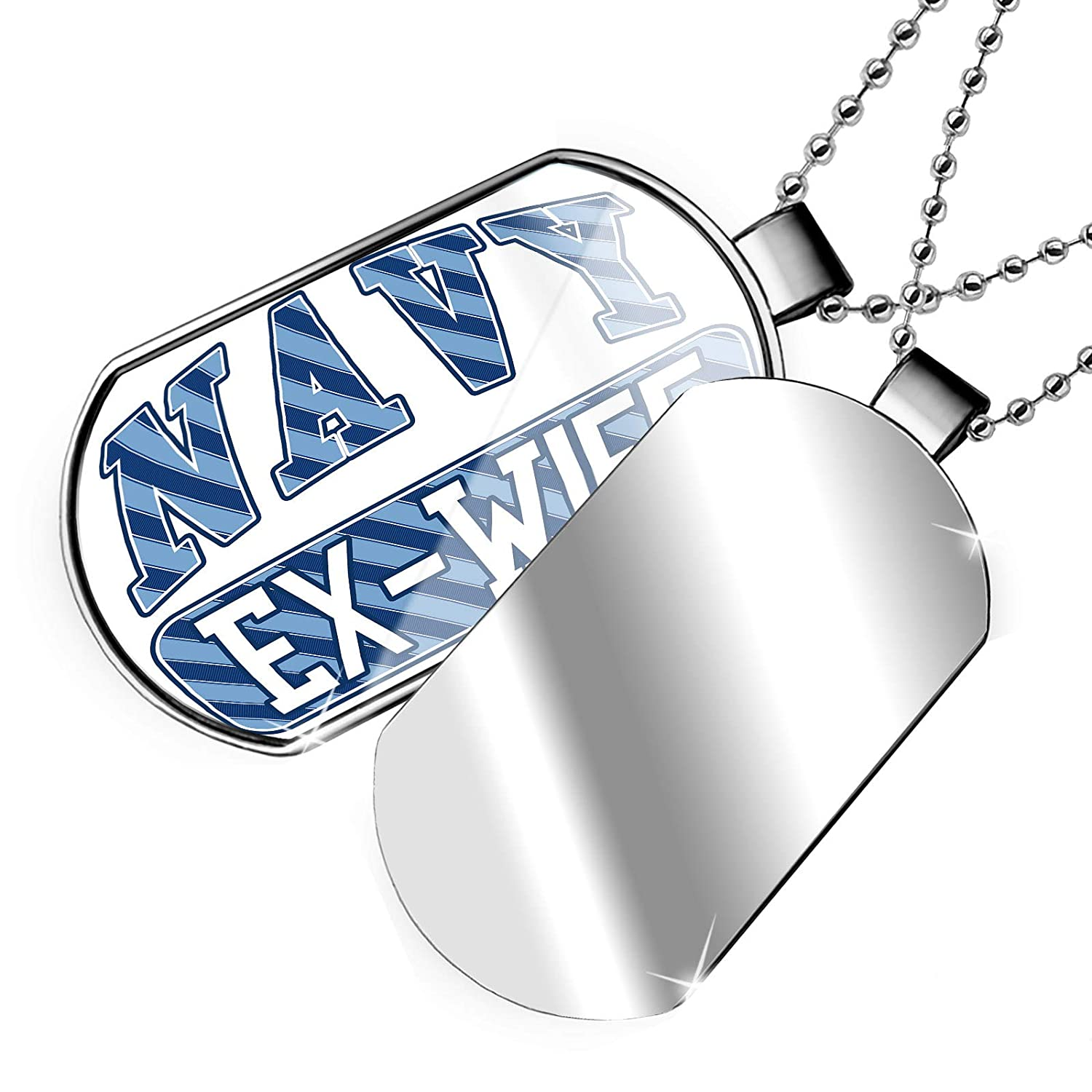 NEONBLOND Personalized Name Engraved Navy Ex-Wife Blue Stripes Dogtag Necklace