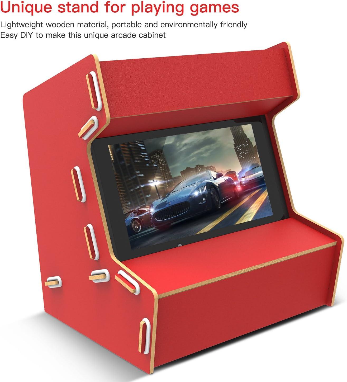 Nintendo Switch Arcade Cabinet Stand, Myriann Único Mano pura Arcade Gabinete para Nintendo Switch Experiencia de Juego Fresco Trae de Vuelta Nostalgia (Rojo): Amazon.es: Bricolaje y herramientas