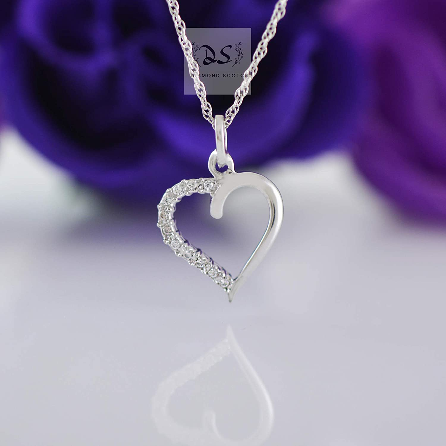 Jewelry for Women Girls 14k White Gold Plated Diamond Scotch White Cubic Zirconia Solitaire Cross Heart Pendant Necklace Religious Necklace Birthday Gifts