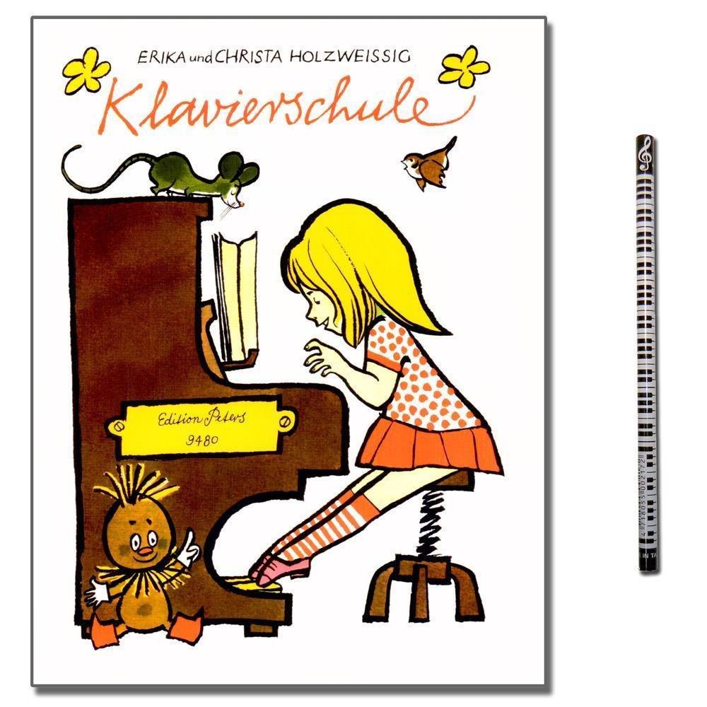 Erika Holzweißig Klavierschule - für Kinder ohne musikalische Vorkenntnisse eingerichtet - mit Beiheft: Improvisation und Liedbegleitung und Piano-Bleistift C.F. Peters