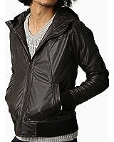 (リピード) REPIDO PUレザーフード付きジップジャケット