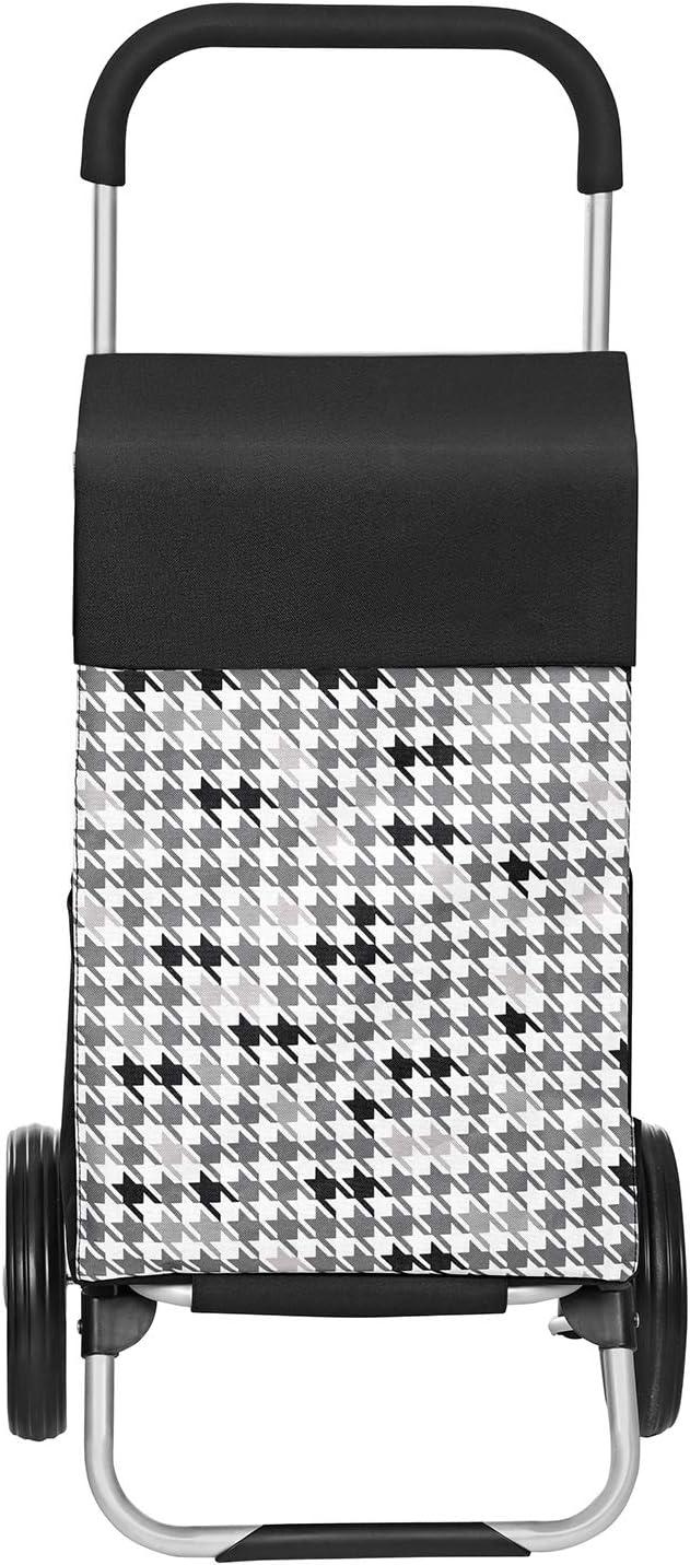 Poussette de march/é Crochet Noir KST06BF Caddie capacit/é 40L 47 x 33 x 97 cm avec rangements SONGMICS Chariot de Courses Roues silencieuses Motif Pied-de-Poule