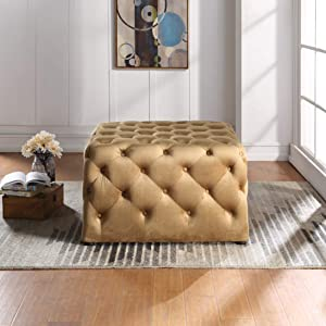 Nathaniel Home Mark Square deep Button Tufted Microfiber Ottoman, Brown (91028-63BR)