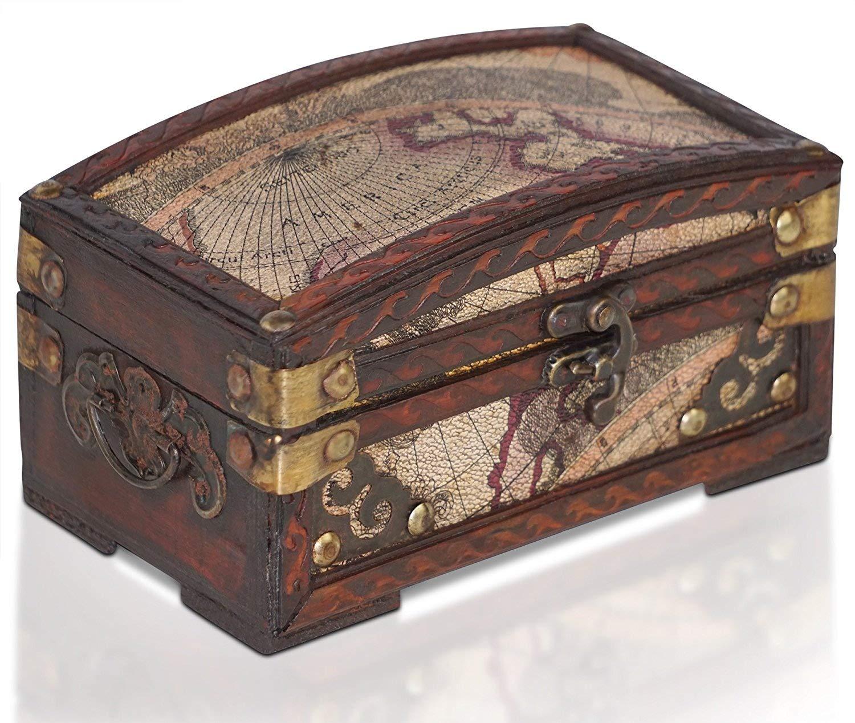 Brynnberg Scrigno del tesoro vintage Bauletto stile antico per accessori gioielli oggetti di valore, Cassaforte in legno, Idea regalo decorativa 17x10x10cm