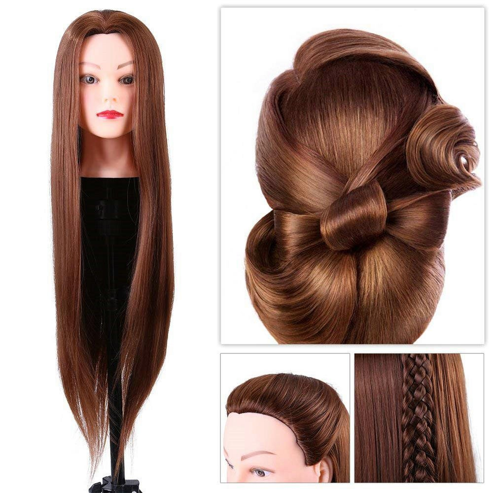 Synthetic Fiber Mannequin Head Hairdresser Training Head Cosmetology Doll Head (24in) Yosoo