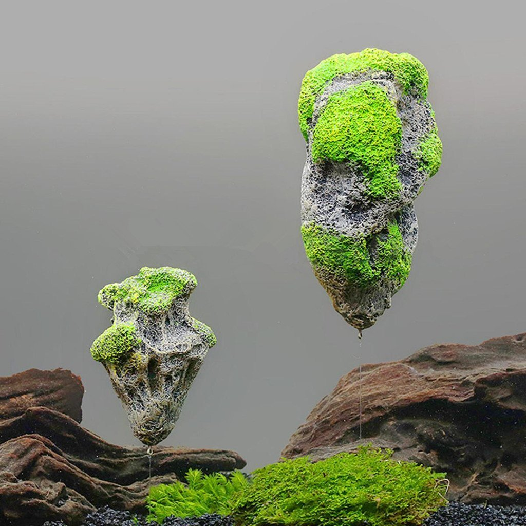 Amazon.com : Chinashow Aquarium Floating Rocks, Aquarium  Decoration,Underwater Decoration, Artificial Moss Stone Floating Rock, Set  Of 2(S, M) Suspended ...