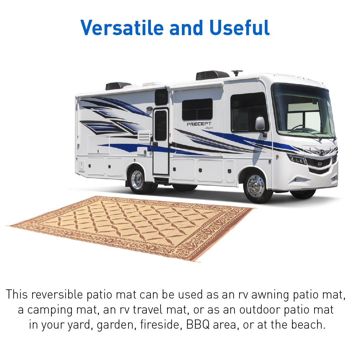 Amazon.com: RV Camping Mats U2013 Outdoor Patio Mat U2013 Reversible RV Mat U2013  Carrying Strap (9 X 12): Automotive