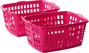 "Homz Plastic Laundry Basket, 23"" x 11"" x 17.8"", Bright Rose, 2-Pack"