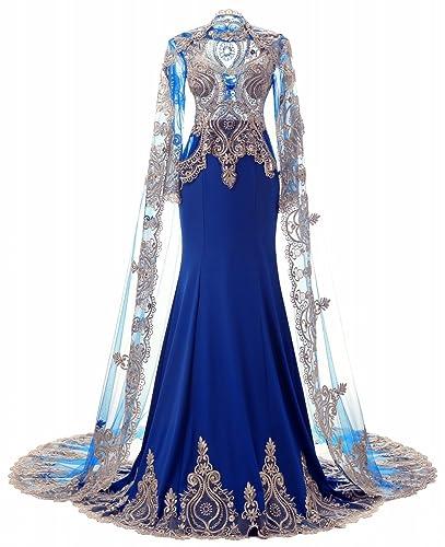 King's Love High Neck Rhinestone Mermaid Long Sleeve Evening Dresses With Shawl