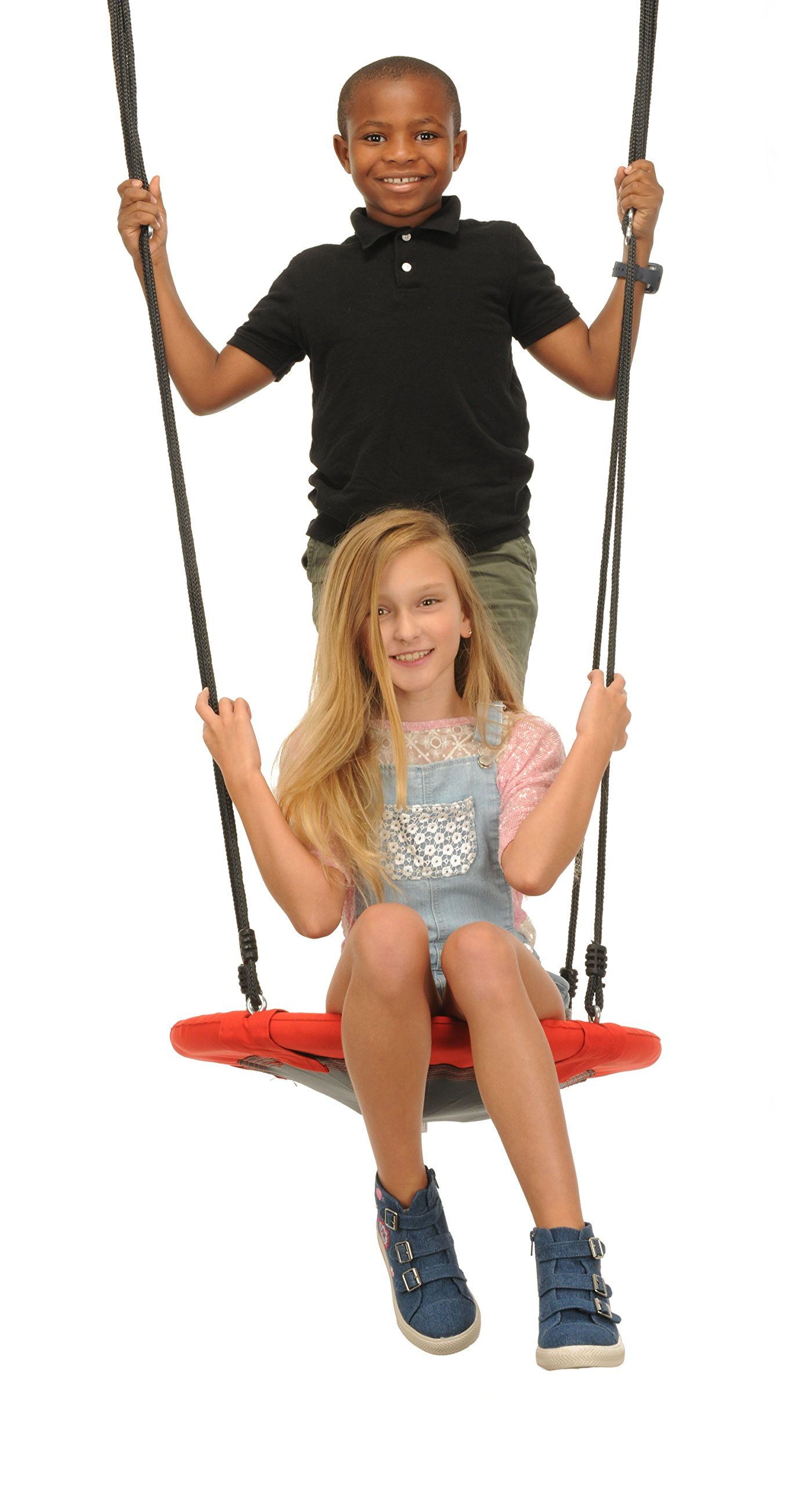 Swinging Monkey Products Fabric Saucer Spinner Swing, Red or Gray - Fun! Easy Install on Swing Set or Tree, Nylon Rope with Padded Steel Frame by Swinging Monkey Products (Image #3)