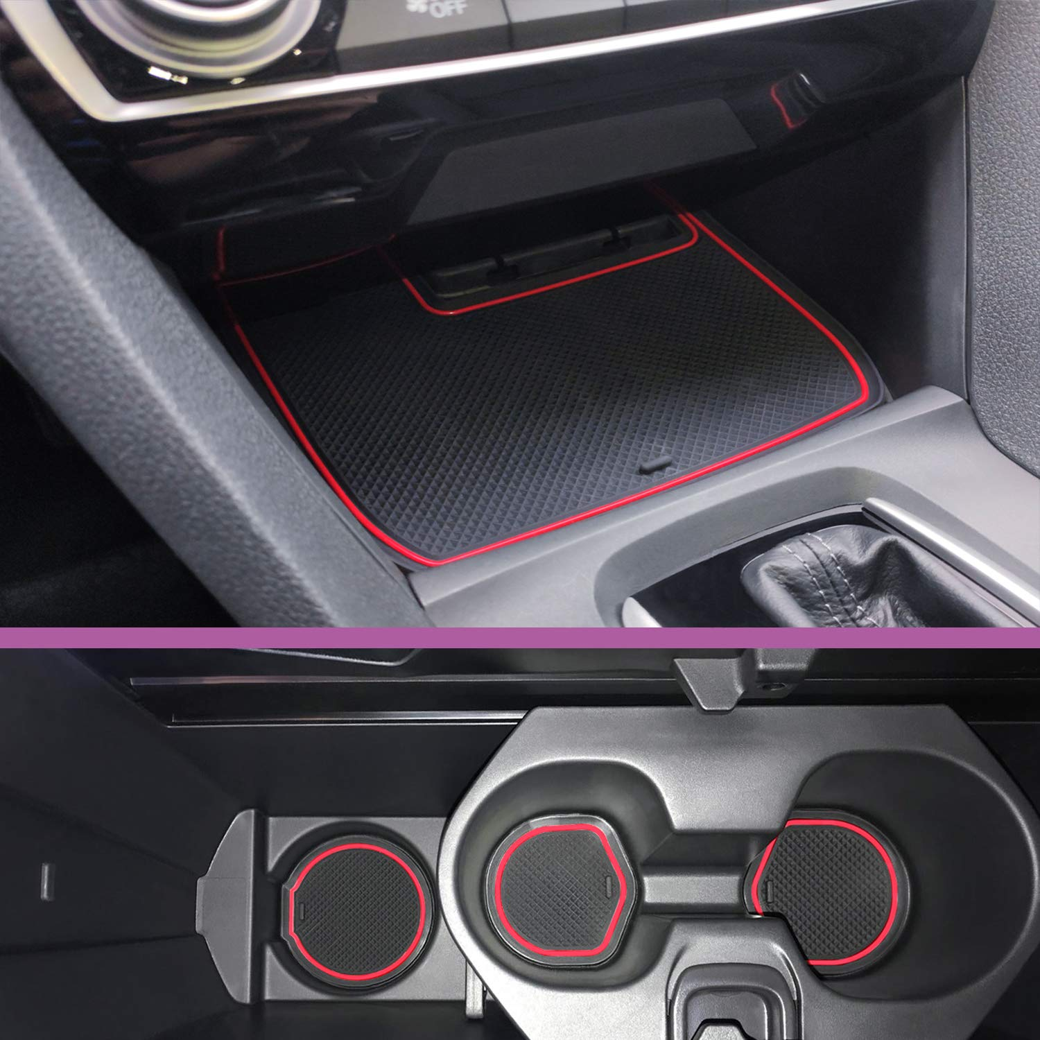 Center Console Liner Mats Coupe Blue Trim CupHolderHero for Honda Civic Accessories 2016-2020 Premium Custom Interior Non-Slip Anti Dust Cup Holder Inserts Door Pocket Liners 22-pc Set