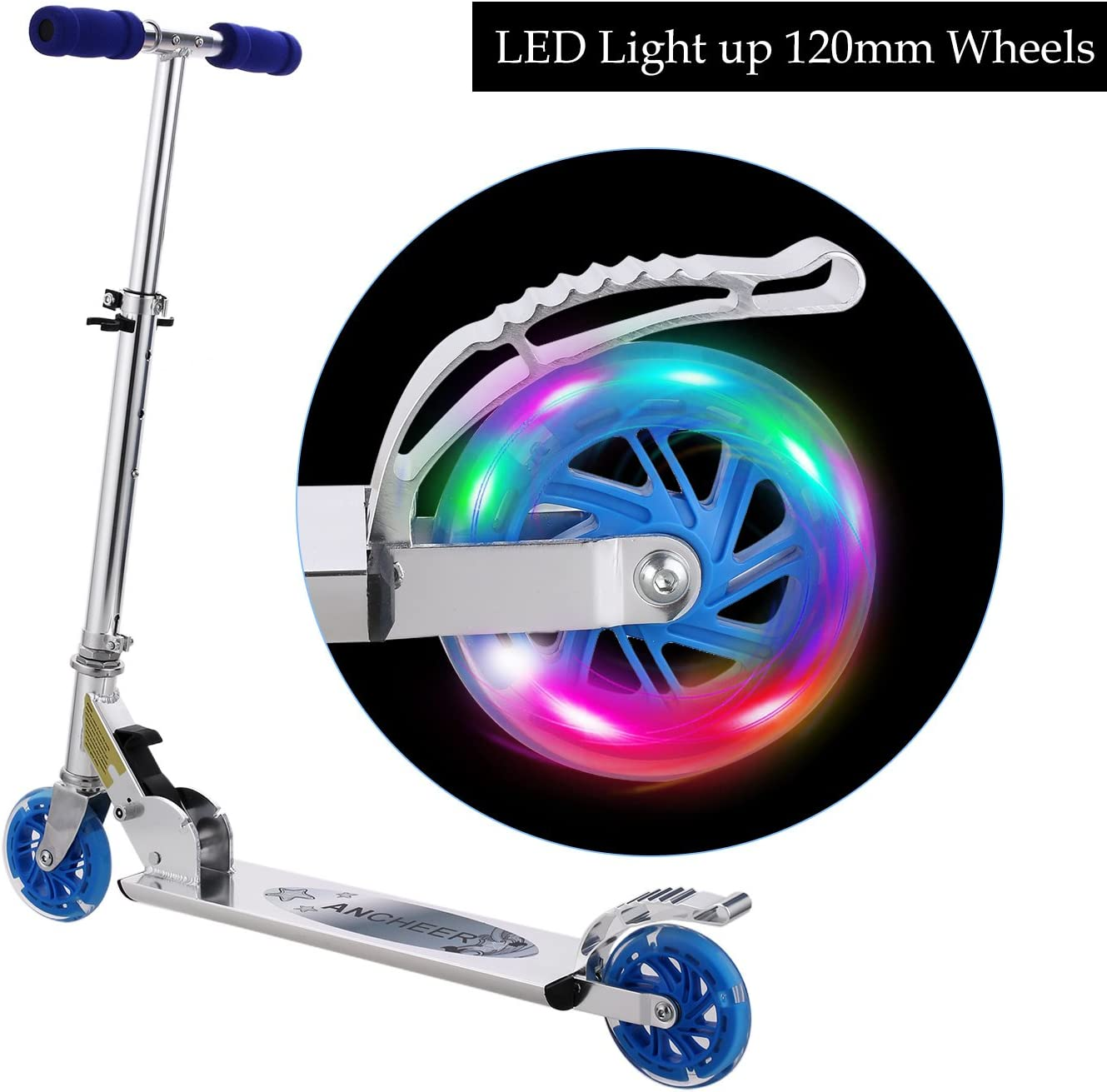WeSkate Scooter for Kids with LED Light Up Wheels, Adjustable Height Setting Folding Kick Scooter for Boys Girls 5lb Lightweight, 110lb Capacity, Rear Break 2-Wheels Scooter