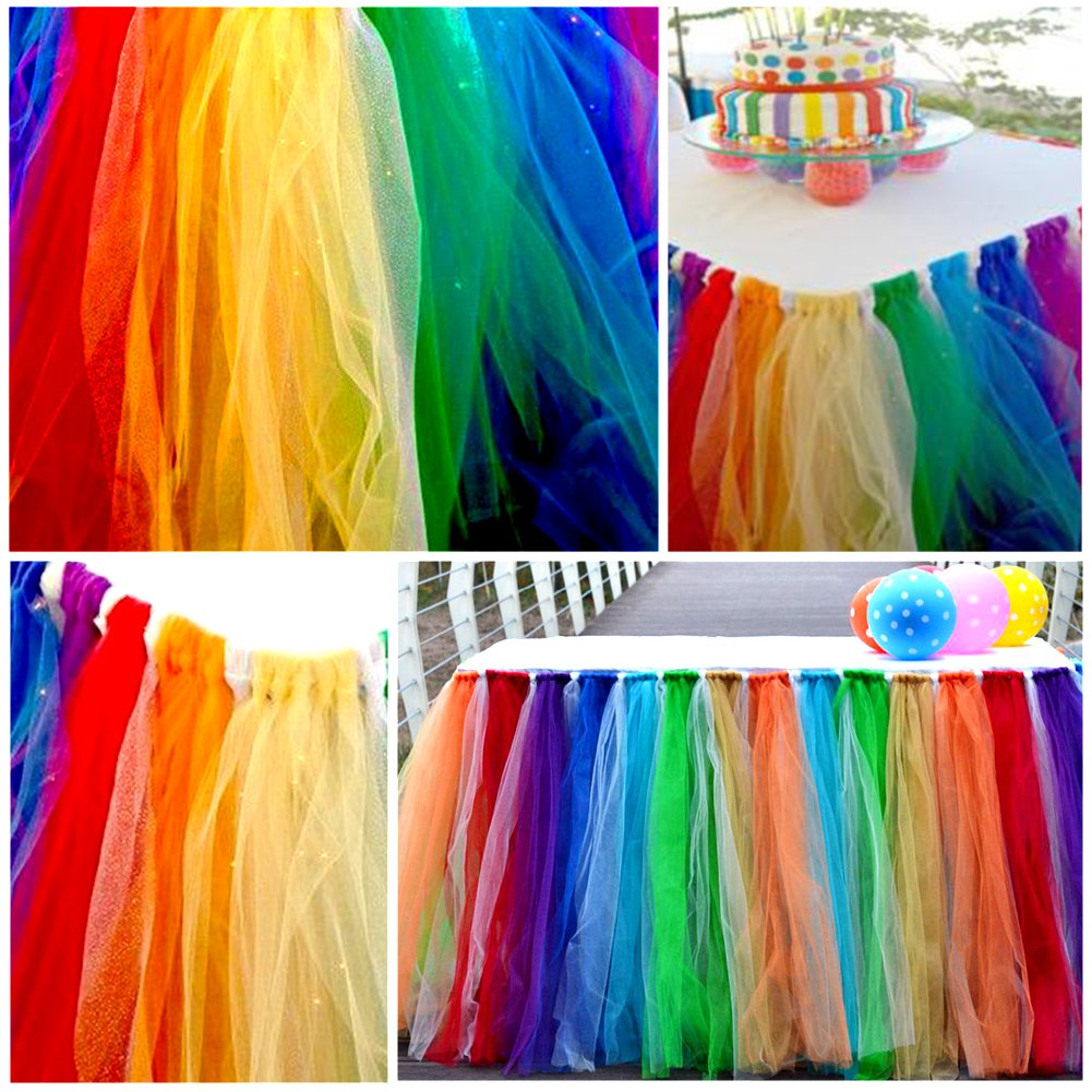 Baby Shower 1Yard Birthday Tulle Table Skirt Home Decoration Adeeing Tutu Table Skirting Cover for Party Wedding Light Blue