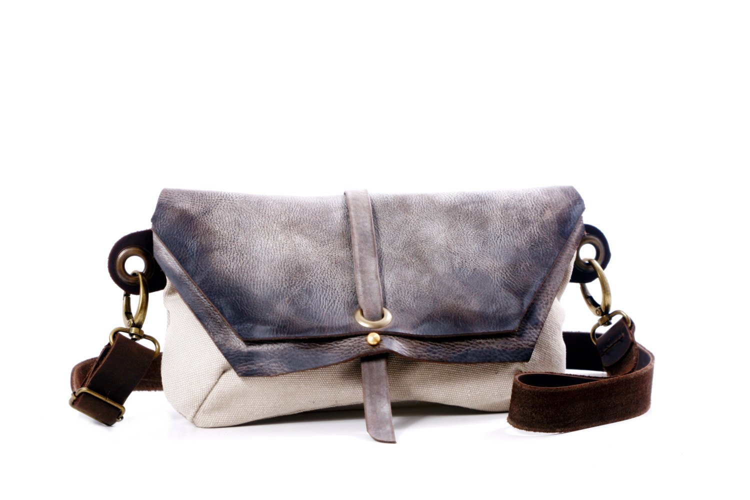 Gray Hip Bag - Fanny Pack - Traveler Bag - Utility Hip Belt - Hip Pouch-canvas and Faded Leather -Hadmade distress Leather Bag
