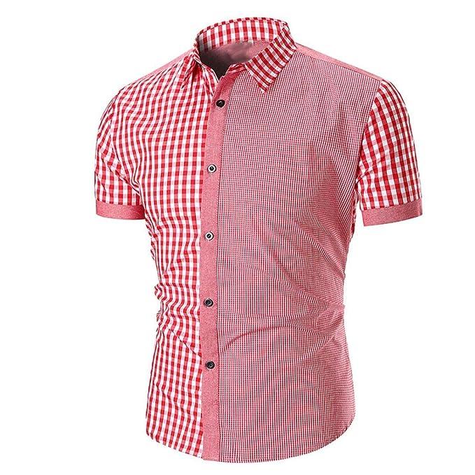 S-5XL Damen O Neck Kurzarm Hemd Shirts Tee Tartan Lose Casual Beach Bluse Tops
