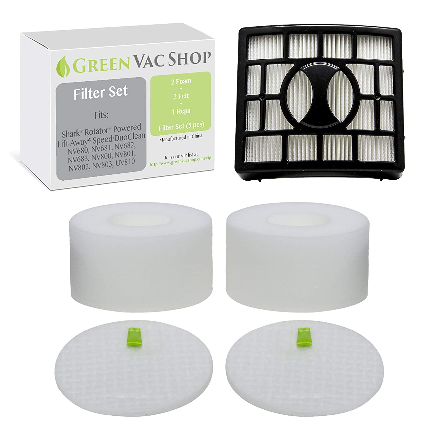 GreenVacShop 2 Foam + 2 Felt + 1 HEPA Replacement Filter Set for Shark Rotator DuoClean Powered Lift Away Speed Vacuum NV680, NV681, NV682, NV683, NV800, NV801, NV803, UV810, Filters XFF680 XHF680