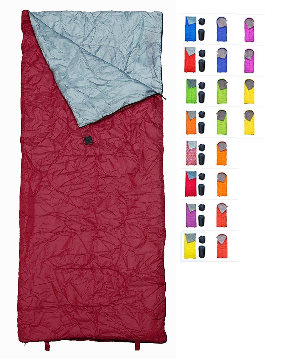 REVALCAMP Sleeping Bag Bordeaux - Indoor & Outdoor Use. Great for Kids, Boys, Girls, Teens & Adults. Ultralight and Compact Bags are Perfect for Hiking, Backpacking & Camping