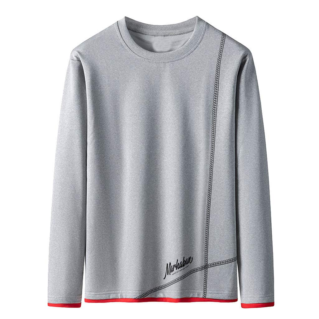 Badymin Men Warm Winter Long Sleeve Pullover Letter Sweatshirt Top Tee Outwear Blouse Gray by Badymin