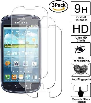 Guran [3-Unidades] Protector de Pantalla Vidrio Cristal Templado para Samsung Galaxy S3 Mini Smartphone Cristal Vidrio Templado Film (9H, 2.5D Edge, 0.3mm): Amazon.es: Electrónica