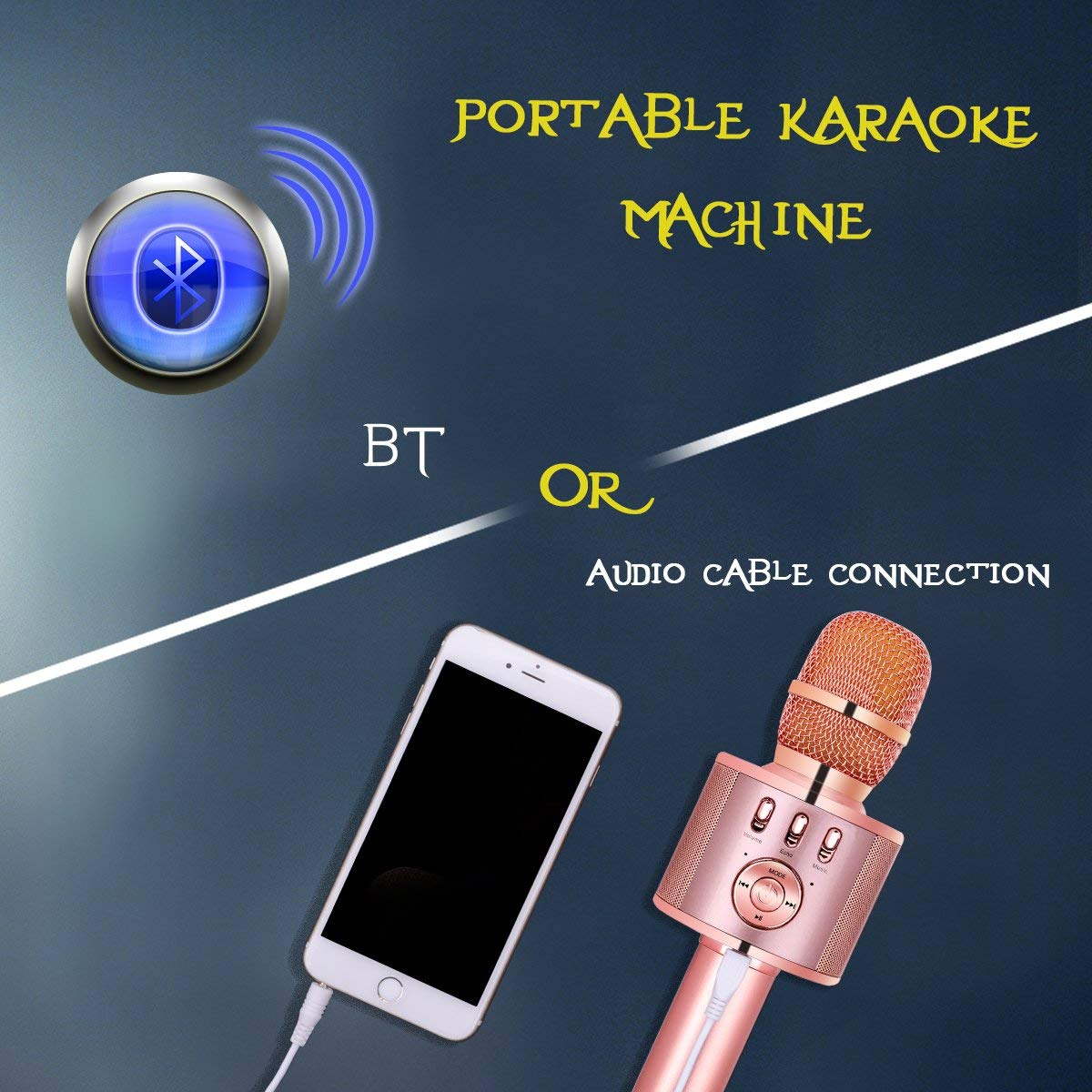 VERKB Wireless Karaoke Microphone Speaker Light Gold Rose Gold Portable Bluetooth Singing Machine for iPhone Android Smartphone Home Birthday Party Team Building