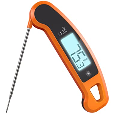 Lavatools Javelin PRO Duo Ambidextrous Backlit Instant Read Digital Meat Thermometer (Orange)