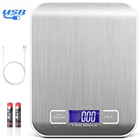 TECHVIDA Báscula Digital de Cocina USB, Báscula Electrónica multifunción de 5 kg con Gran Pantalla LCD, Báscula de…