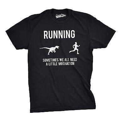 4c249fb2 Mens Running Motivation Raptor Chase T Shirt Funny Dinosaur Tee for Guys  (Black) -