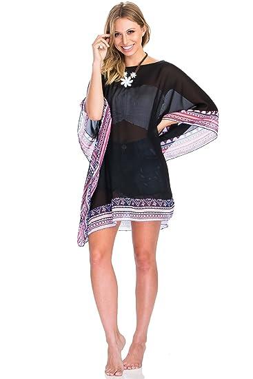 d4d47faaf2f92 Women's Solid Chiffon Sheer Tunic Beachwear Hem Poncho Dress (One Size,  Black)