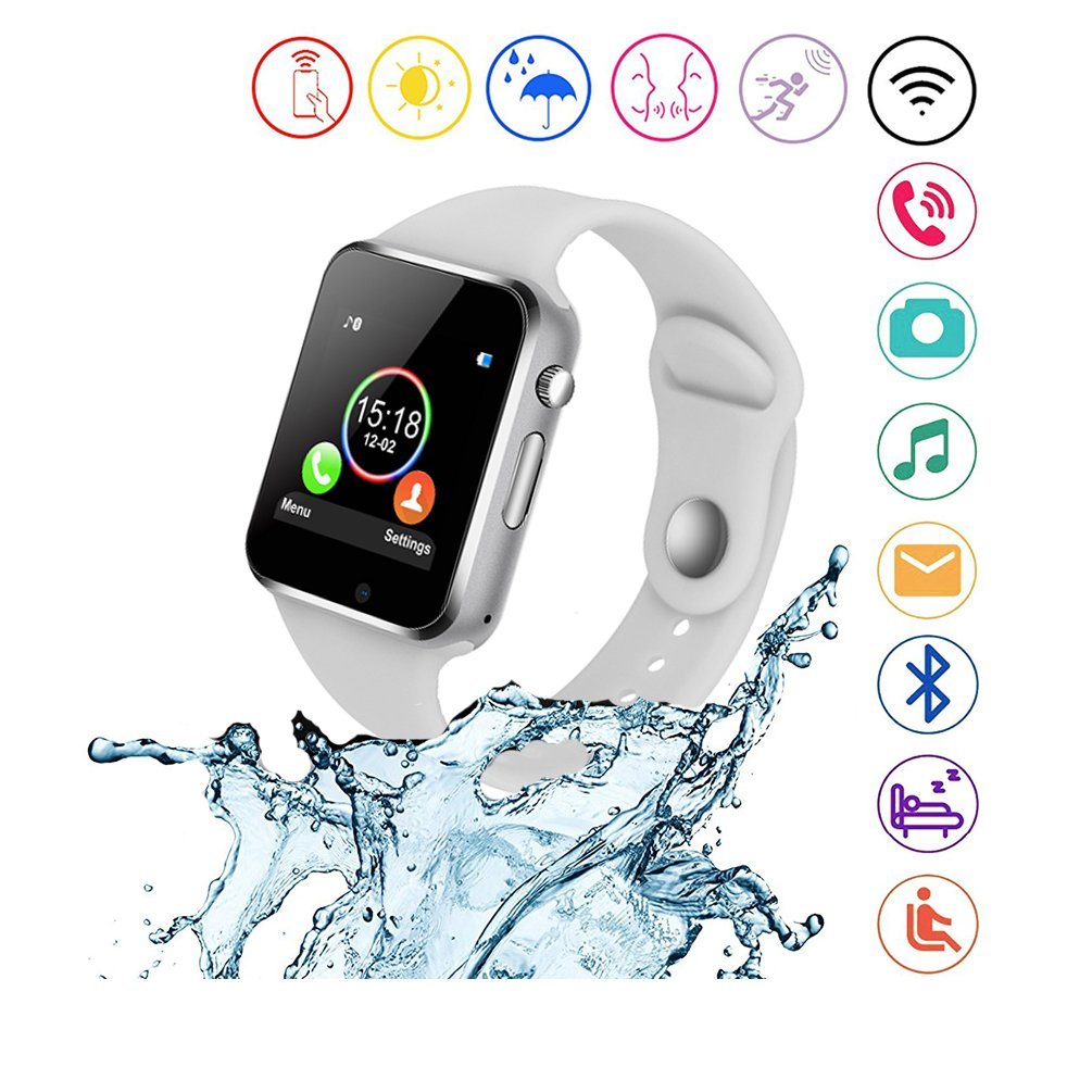 Smart Watches,SUNETLINK Anti-lost Touch Screen Bluetooth Smart Watch with Camera,Cell Phone Watch with Sim Card Slot,Smart Wrist Watch Compatible with Android Phones IOS for Kids Men Women