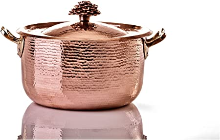 Amoretti Brothers Copper 10.4 qt Dutch Oven w Flower Lid