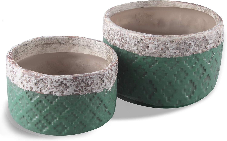 Ceramic Decorative Vase, Vintage Ceramic Vase with Unique Textures Design for Indoor Outdoor Home Office Garden Courtyard Decoration (Set of 2)