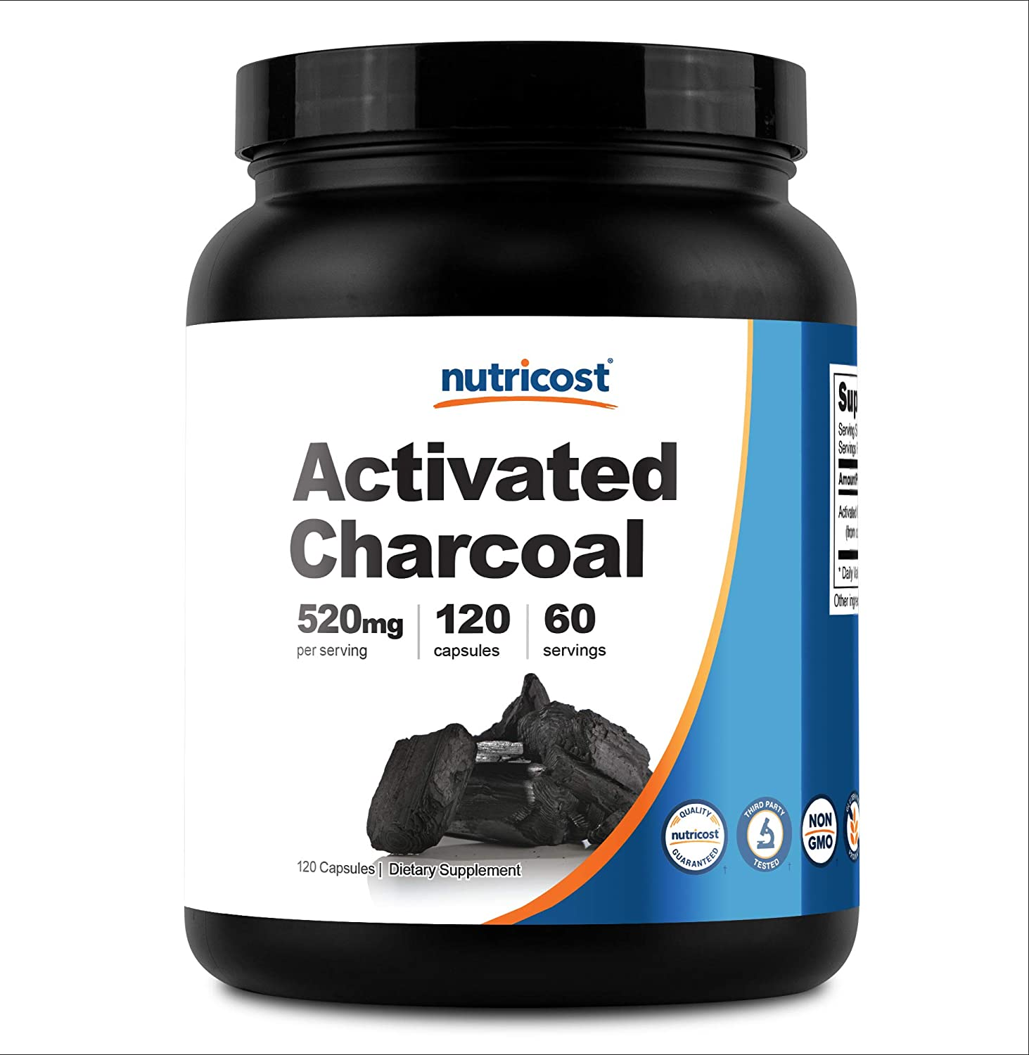 Nutricost Activated Charcoal Powder 1lb - Food Grade Powder, Vegan, Gluten Free, Non-GMO