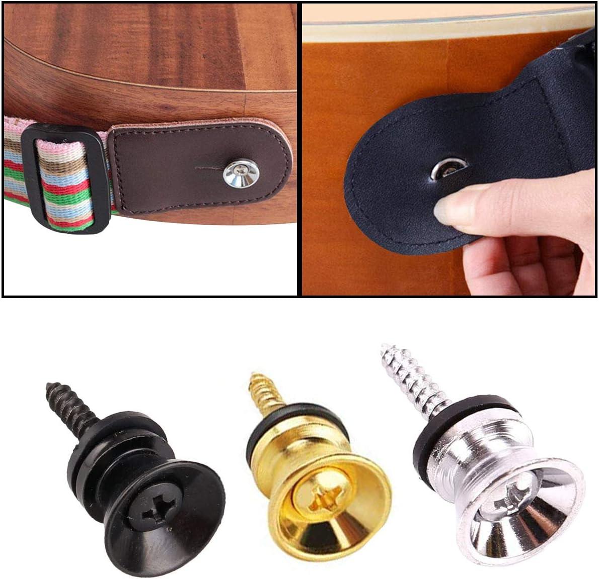 noir//argent//dor/é OSUTER 30PCS Verrou de Sangle de Guitare en M/étal Bouton Sangle Guitare Classique Guitare Sangle Lock pour Guitare Acoustique Electrique Basse