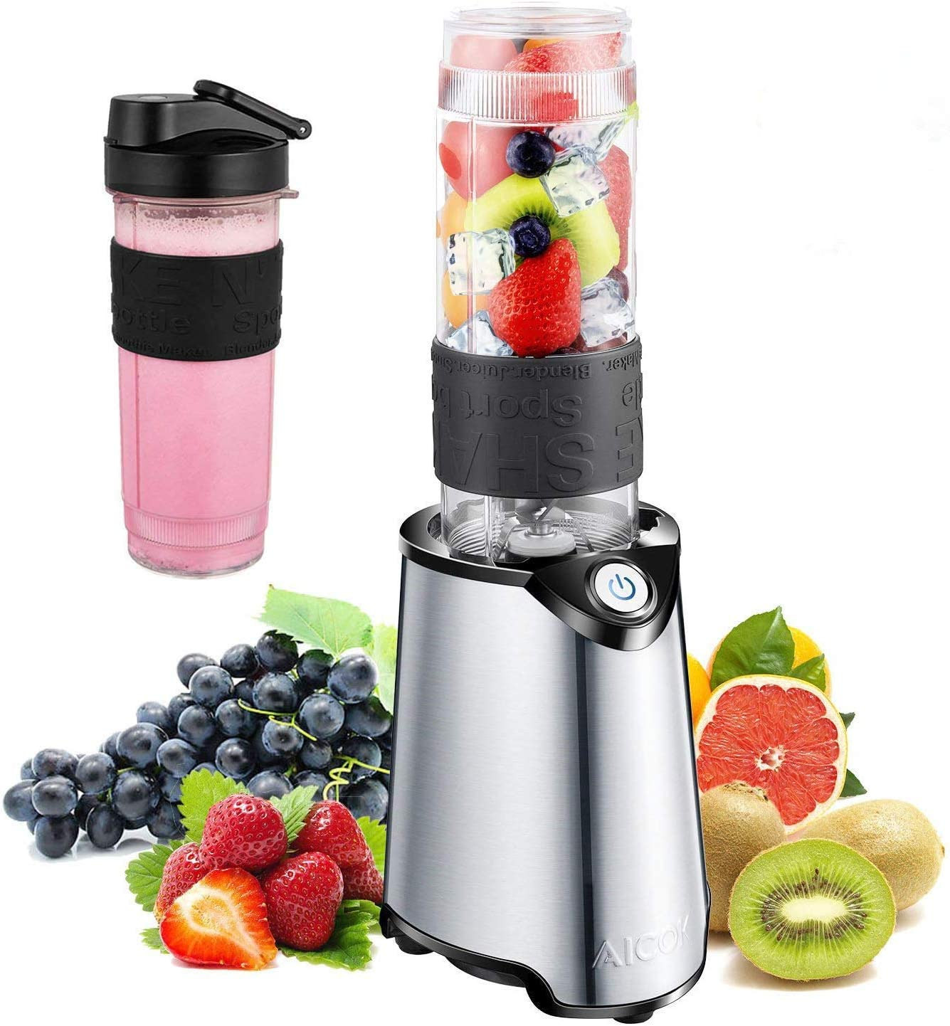 Personal Blender, Aicok Smoothie Blender, Single Serve Blender for Juice Shakes and Ice, with 21 oz BPA Free Portable Travel Sports Bottle and Extra Travel Lid, 300W, Stainless Steel Base