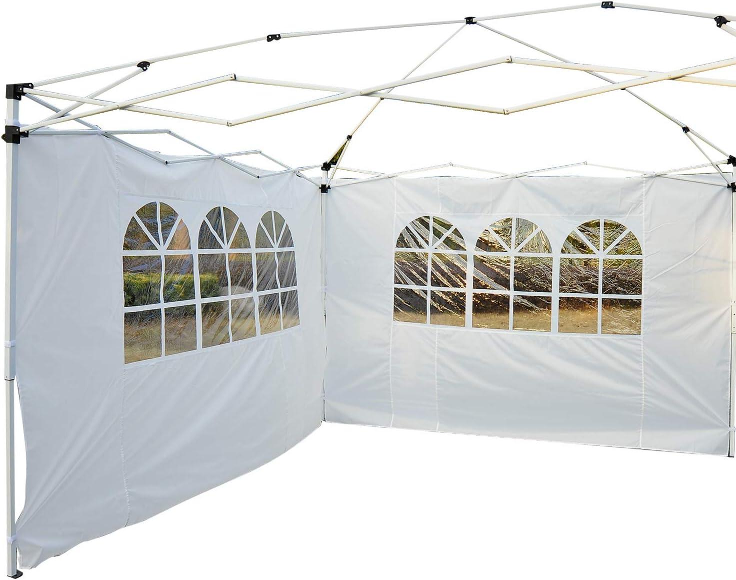 Outsunny 2 Paredes Parte Laterales para Carpa 3x2 Lado Parasol de Gazebo Tela Oxford con Ventana Medidas Apto para 3x3 3x6 Blanco: Amazon.es: Jardín