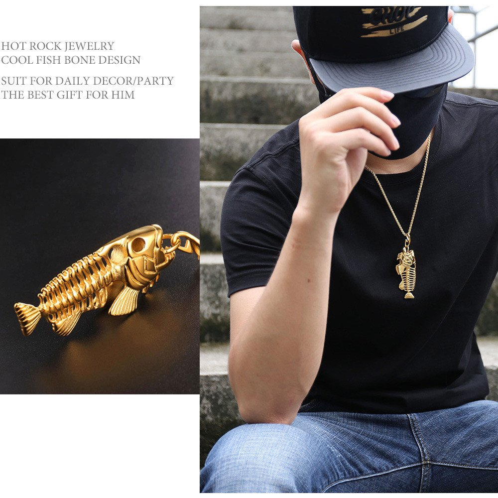 Gbell Clearance! Boys Girls Fish Bone & Fishing Hook Skeleton Pendant Chain Necklace Charm - Stainless Steel Surfer Gold Black Silver Unisex Chain Necklace Jewellery Gifts for Men Women Kids (Gold)