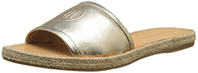 Womens Metallic Flat Mule Open Toe Sandals, Gold Tommy Hilfiger