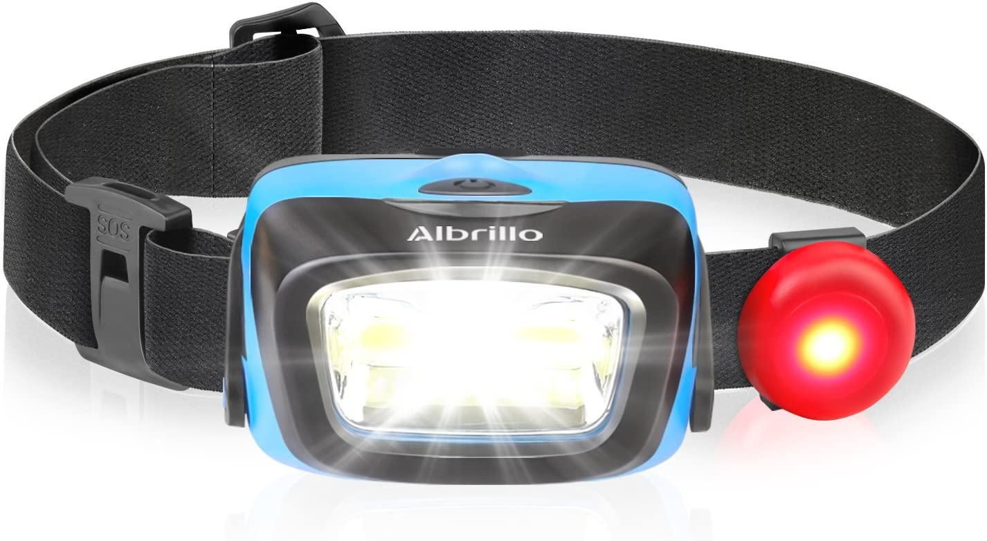 Albrillo LED Headlamp Flashlight, Waterproof Headlight 5 Modes with Red Light Option, Battery Powered Helmet Light for Camping Hiking Running Hunting