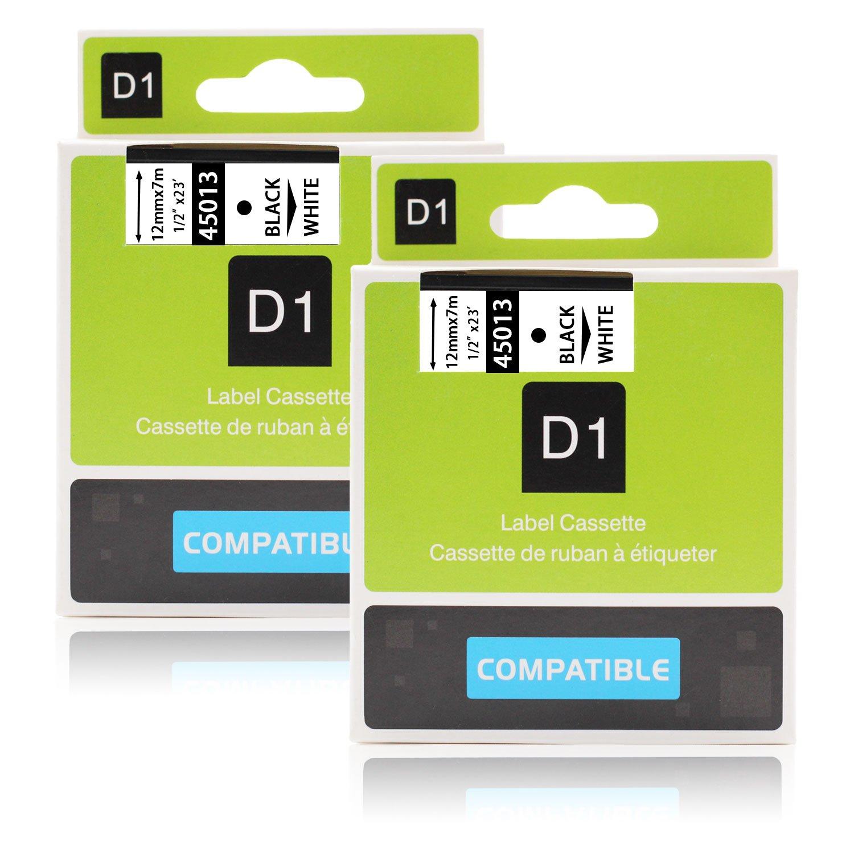 2x Labelwell 12mm x7m Compatibile DYMO D1 45013 S0720530 Nero su bianco Nastri Etichette per Dymo LabelManager LabelPoint 100 110 120P 150 160 PC2 200 PC PnP LabelWriter 450 Duo Etichettatrice