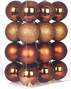 GameXcel 24Pcs Christmas Balls Ornaments for Xmas Tree - Shatterproof Christmas Tree Decorations Large Hanging Ball Bronze 3.2