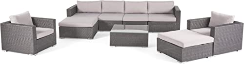 Christopher Knight Home 299453 Cortez Sea 9 Piece Outdoor Wicker Furniture Sectional Sofa Set
