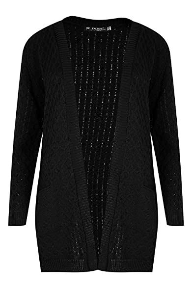 Be Jealous Womens Chunky Waffle Open Front Pocket Cable Knit ...
