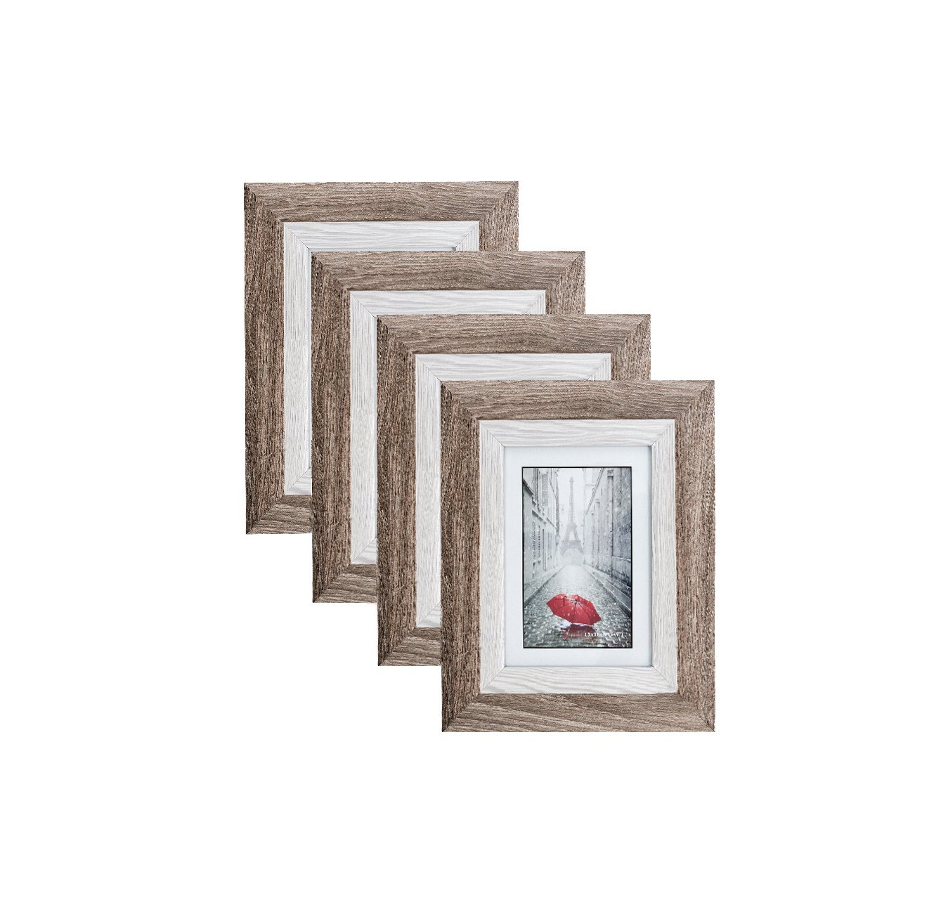 Distressed Brown MDF Wood Picture Frame 5x7 (4 pc) Display with Photo Glass Front, Easel Back, and Wall Hang Clip   4 PIECE SET