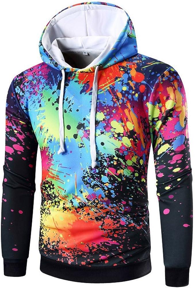 Siviki Mens Long Sleeve Digital Print Hoodie Hooded Sweatshirt Tops Coat Outwear Fashion Hoodies