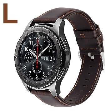 MroTech Correa Gear S3 Cuero Piel Compatible para Huawei Watch GT/Amazfit Stratos 22mm Pulsera Banda Reloj de Reemplazo para Samsung Gear S3 ...
