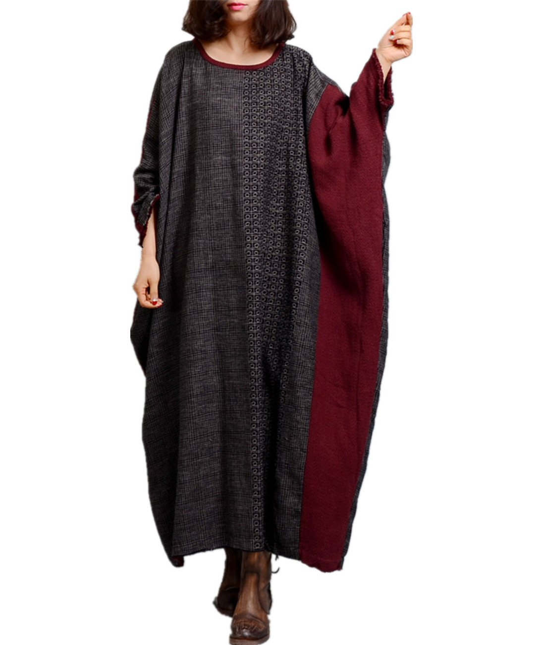 Yesno JP8 Women Long Loose Maxi Dress 100% Linen Ethnic Style Color Contrast Batwing Sleeve Fringed Cuff Plus Size
