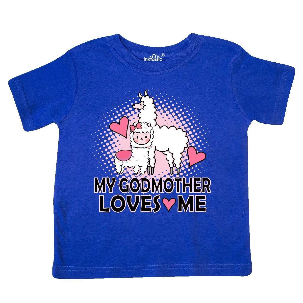 inktastic My Godmother Loves Me Llama Toddler T-Shirt