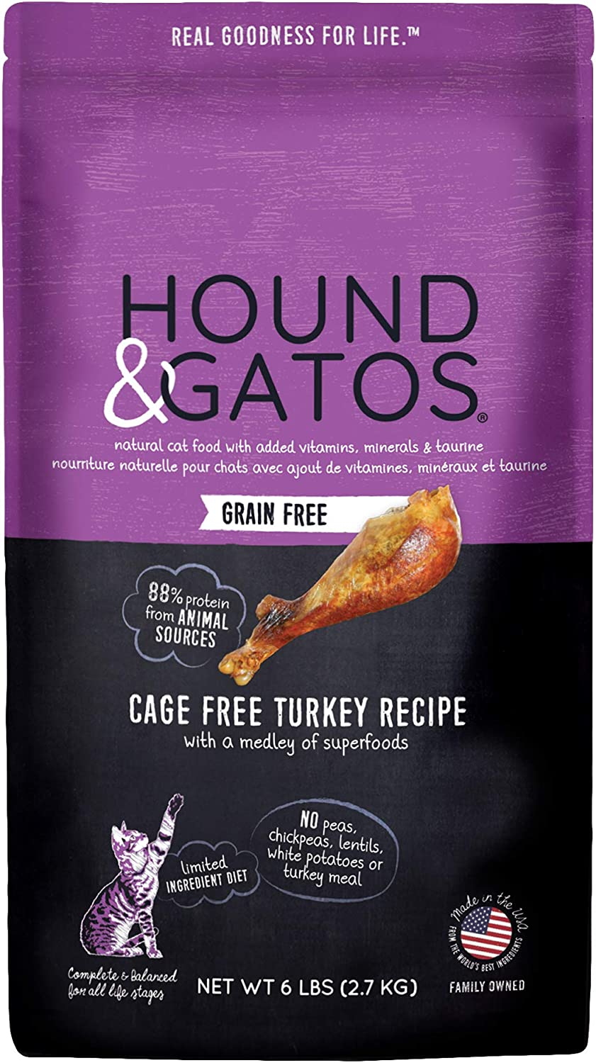Hound & Gatos Natural Dry Cat Food, Cage Free Turkey, For All Life Stages, Made in the USA
